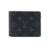 【台中米蘭站】全新品 Louis Vuitton Slender系列 Eclipse帆布對折短夾(M62294-黑灰)