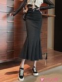 半身魚尾裙 2021年新款高腰一步中長款裙子女秋冬季包臀裙顯瘦魚尾開叉半身裙 小天使