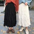 半身裙學生大碼女裝夏裝CHIC韓版寬鬆褶皺中長款百搭仙女百褶裙