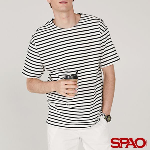 SPAO男款舒適休閒條紋短袖T恤-共三色