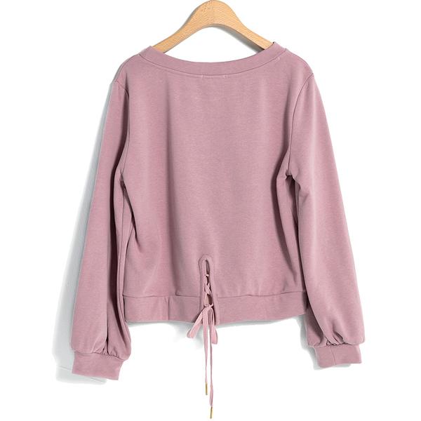 秋冬7折[H2O]英文刺繡船型領後綁帶設計針織上衣 - 白/灰/淺紫色 #9651008