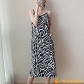 豹紋性感吊帶連衣裙女新款可鹽可甜炸街裙子溫柔系穿搭【小橘子】
