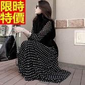 長洋裝-波希米亞風圓領點點雪紡長袖時尚連身裙65af3【巴黎精品】
