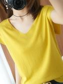 夏季v領針織衫短袖女冰絲上衣ins潮寬鬆女裝2020新款女士薄款t恤 伊蘿