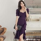 宴會禮服裙女春裝氣質平時可穿名媛v領顯瘦不規則包臀魚尾洋裝