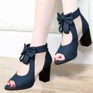 魚口鞋 魚嘴鞋高跟2021夏季新款粗跟女鞋子韓版百搭中跟鏤空網紗高跟涼鞋