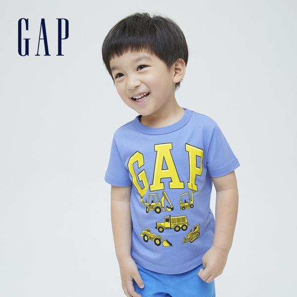 Gap男幼童 布萊納系列 Logo童趣印花純棉T恤 701452-淺藍色