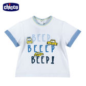 chicco-車車旅遊趣-短袖上衣-白