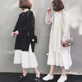 韓系女孩風 下擺拼接長裙-大尺碼 獨具衣格