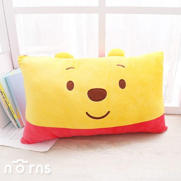 【小熊維尼雙人長型抱枕】Norns 紅黃配色 15吋 腰靠枕靠墊 枕頭 長枕 Pooh大臉 迪士尼正版授權 絨毛