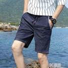 男士鬆緊腰薄款牛仔短褲夏季男直筒修身潮流5五分休閒中褲子抽繩 3C優購