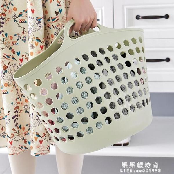 塑料大號髒衣籃手提素色髒衣服收納籃髒衣簍玩具雜物整理筐置物籃【果果新品】