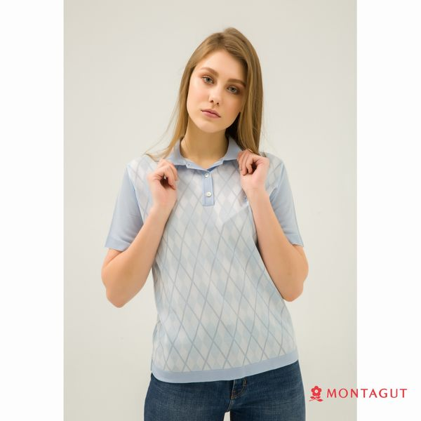 女款短袖POLO衫 夢特嬌法國製造亮絲系列 時尚菱紋-水藍