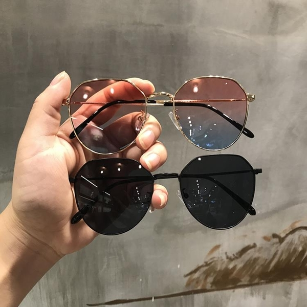 墨鏡墨鏡女透明粉色網紅橢圓形太陽鏡韓版復古方框眼鏡女 新品