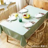 簡約文藝桌布布藝棉麻小清新餐桌布日式田園正方形茶幾小圓桌臺布 莫妮卡小屋