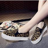 一腳蹬平底豹紋厚底帆布板鞋 DL7296『樂愛居家館』