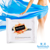 femfresh芳芯私密肌 舒緩清新潔膚絹x25抽(外出旅遊 辦公室 )使用期限2020年4月-即期良品