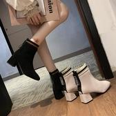 短靴網紅靴子女超火韓版2019秋冬新款歐洲站小香風粗跟短靴中筒瘦瘦靴