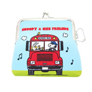 【日本進口正版】史努比 Snoopy 巴士款 防震棉 中型 珠扣包 零錢包 卡片包 收納包 PEANUTS - 292469