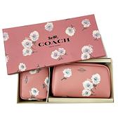 【COACH】經典LOGO花卉印花化妝包禮盒(粉)