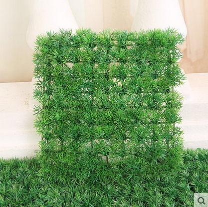 F0812 雙四頭草皮25*25 家居裝飾地毯仿真草皮花園綠意人造草坪(一塊)