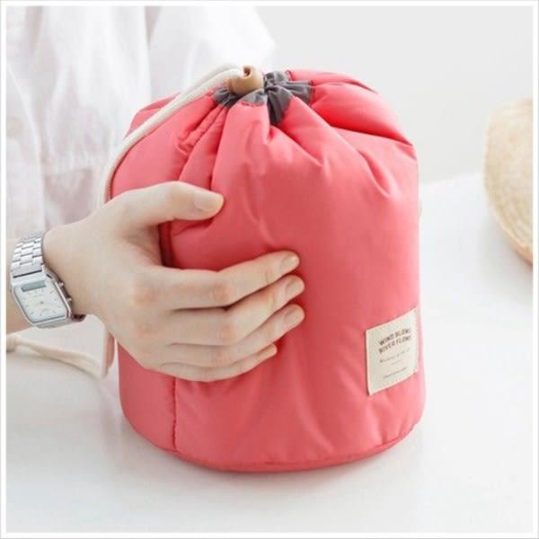 收納袋-圓桶造型束口盥洗/化妝收納包-共2色-(特價品)-A09090070-天藍小舖