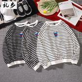 港風大學Tee男士條紋衛衣學生圓領寬松刺繡長袖T恤海魂衫