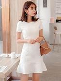 洋裝 白色魚尾連身裙新款夏流行智熏法式桔梗裙子仙女超仙森系性感