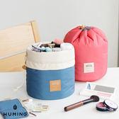 多 圓筒洗漱包化妝包束口袋旅行收納包行李箱收納袋整理袋出國~無名~J04104