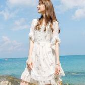 美之札[69236-KF]浪漫唯美花邊荷葉袖度假連衣裙洋裝~