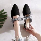新款尖頭蝴蝶結平底鞋深口黑色一字帶包頭綁帶粗跟穆勒單鞋女color shop