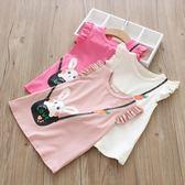童裝夏裝女童飛袖上衣3-8歲小女孩中長款短袖T恤裙寶寶外出童裙衫 奇思妙想屋