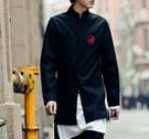 FINDSENSE品牌 男 時尚 街頭 潮 中長款 中國風 蛇圖案 刺繡 長袖襯