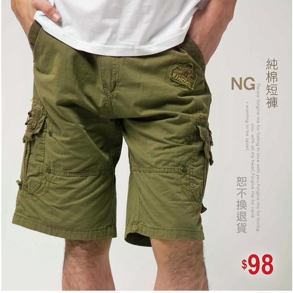 【大盤大】A625 男 NG無法退換 水洗褲 XL號 純棉五分褲 休閒褲 工裝褲 口袋短褲 上班工作褲