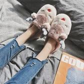 家居拖鞋 棉女包跟冬季厚底可愛居家室內保暖月子鞋卡通情侶毛毛棉鞋男【快速出貨】