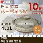 【萬古燒】日本製Ginpo銀峯花三島耐熱砂鍋~10號(適用5~6人)