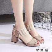 鞋子女新款涼鞋女夏季韓版中跟粗跟少女高跟鞋時尚一字扣女鞋 探索先鋒