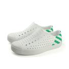 native JEFFERSON BLOCK PRINT 休閒鞋 洞洞鞋 白/綠條紋 男女鞋 11100102-8490 no695