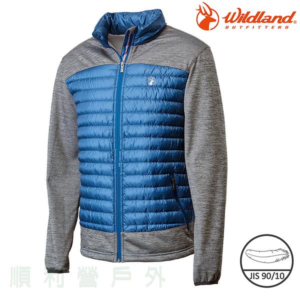 荒野WILDLAND 男款彈性針織拼接羽絨外套 0A62992 灰藍色 保暖外套 羽絨衣 輕羽絨 OUTDOOR NICE