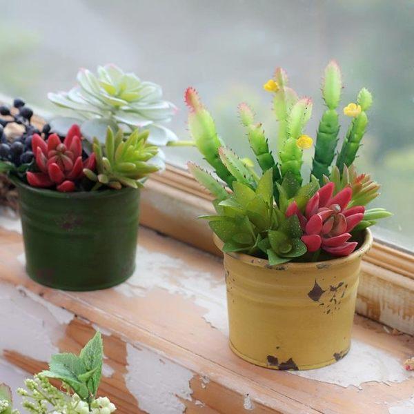 新年鉅惠 美式鄉村多肉裝飾花盆鐵藝小花器仿真植物盆栽盆景綠植裝飾小擺件