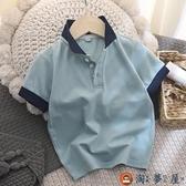 Polo衫男童短袖t恤兒童純棉網眼翻領衫夏裝【淘夢屋】