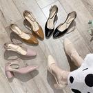 高跟鞋.優雅赫本風繞踝皮革粗跟尖頭包鞋....