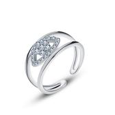 戒指 925純銀 鑲鑽-簡潔大方生日情人節禮物女飾品2色73dx61【時尚巴黎】