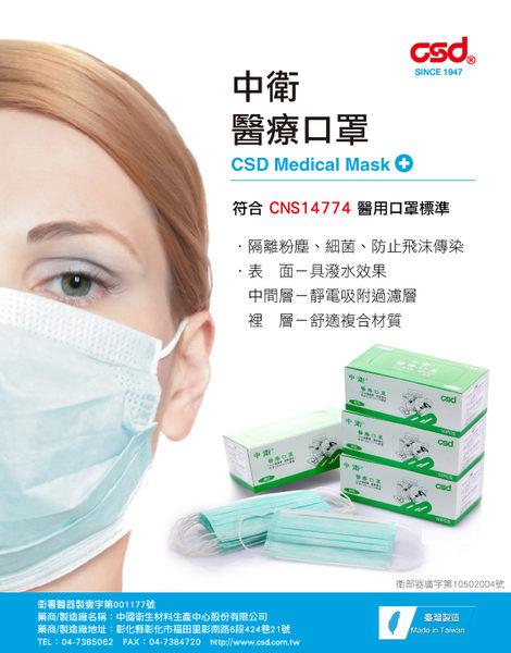 【中衛】醫療口罩鬆緊式-綠色 (50片)