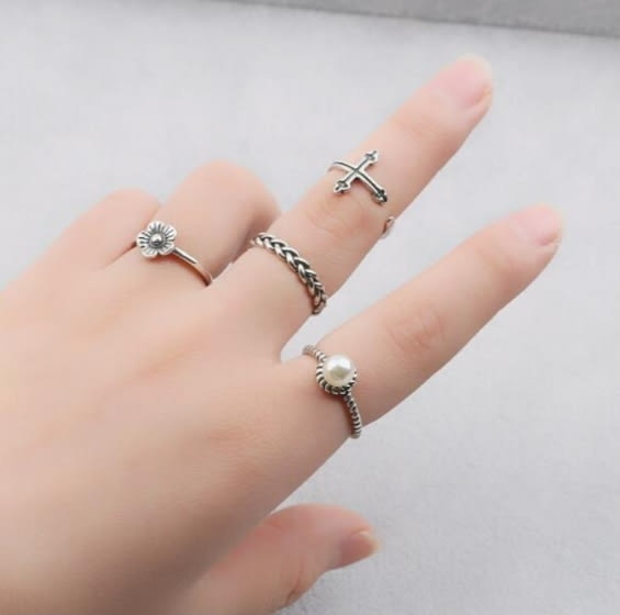 日韓國 簡約 復古 麻花 六芒星 食指 開口 泰銀 戒指 女