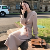 長袖洋裝 網紅毛衣裙女中長款2020新款氣質秋冬季很仙的長袖打底針織連身裙 薇薇