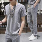 男士套裝新款棉麻休閒運動服潮流韓版夏季亞麻短袖T恤兩件套【開學季特惠】