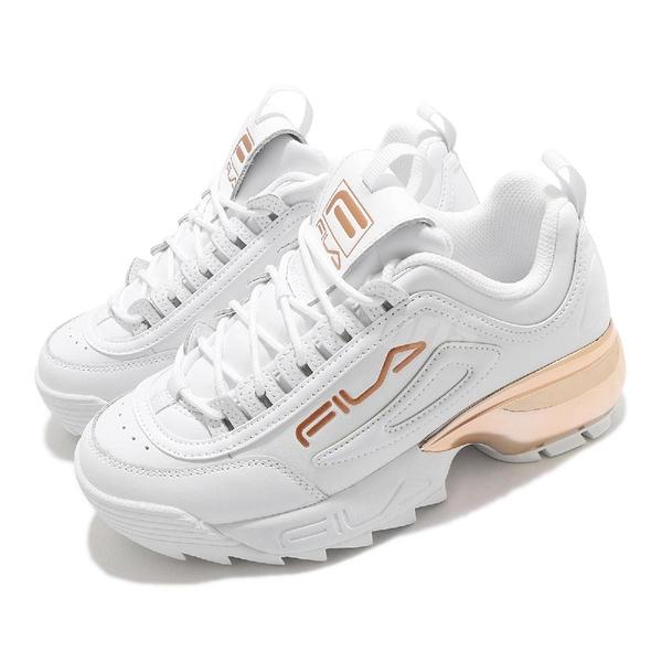 Fila 老爹鞋 Disruptor 2A 女鞋 白 玫瑰金 鋸齒鞋 韓國 增高 厚底 休閒鞋 【ACS】 4C113V155