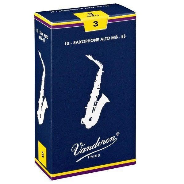 【金聲樂器】法國Vandoren Alto Saxophone 中音 薩克斯風 3號 竹片10片裝 真空包裝