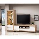 【森可家居】潔咪8尺L櫃(全組) 7ZX366-2 客廳高低櫃 展示櫃 電視櫃 木紋質感 白色 無印風 北歐風